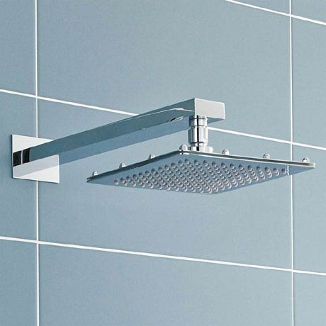 Ultra 200mm Square Fixed Shower Head & Wall Mounted Arm