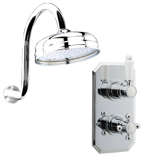 Traditional Twin Concealed Thermostatic Valve with Shower Head & Swan Neck Arm Large Image