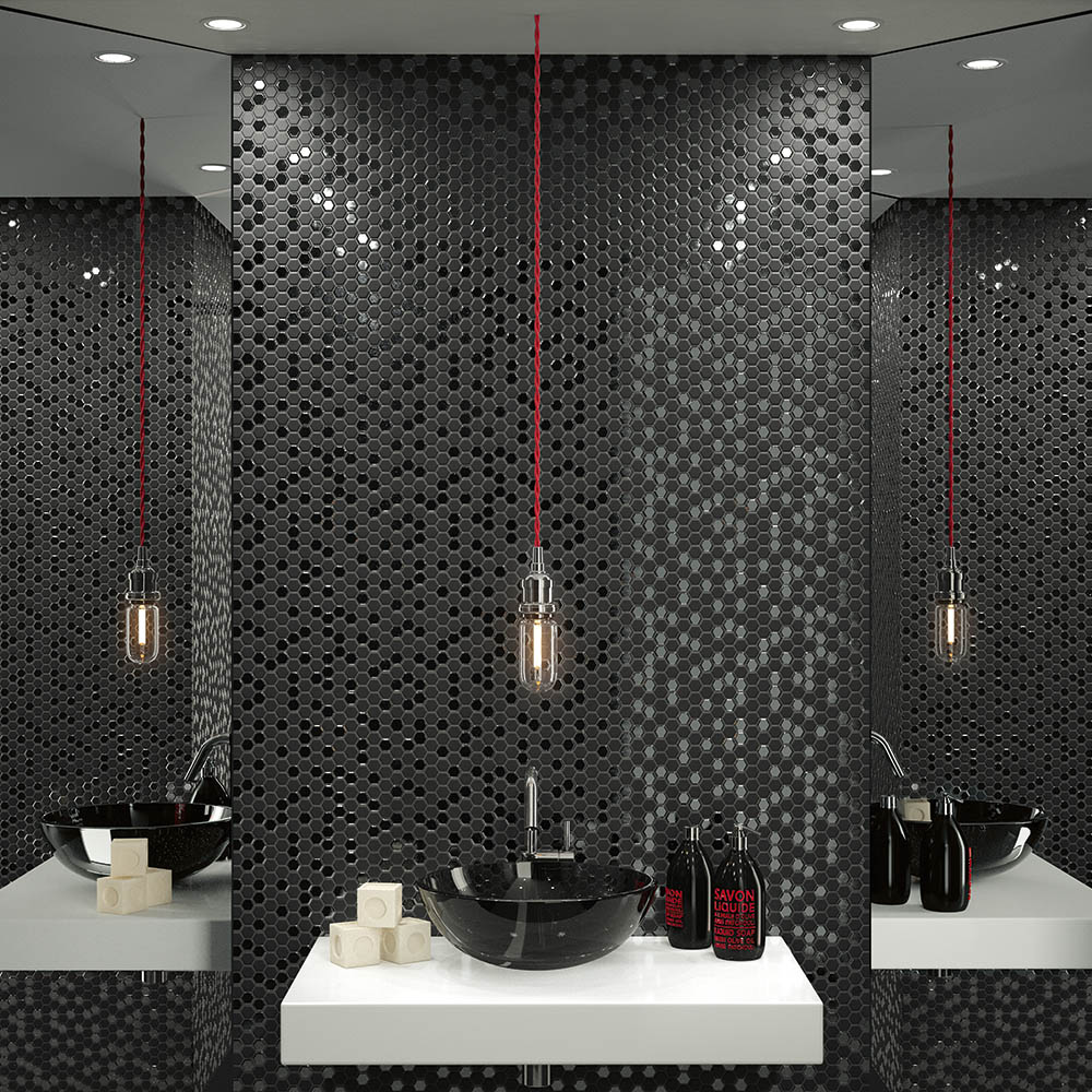 Hex Black Mosaic Tile Sheet - 301 x 297mm