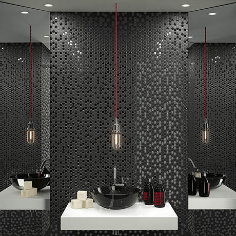 Hex Black Mosaic Tile Sheet 301 X 297mm