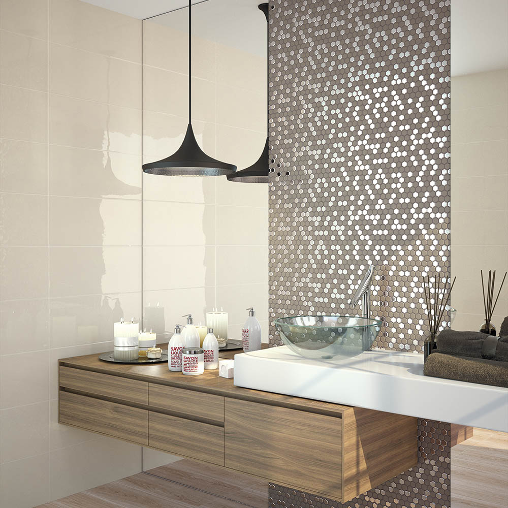 Hex Brown Mosaic Tile Sheet - 301 x 297mm