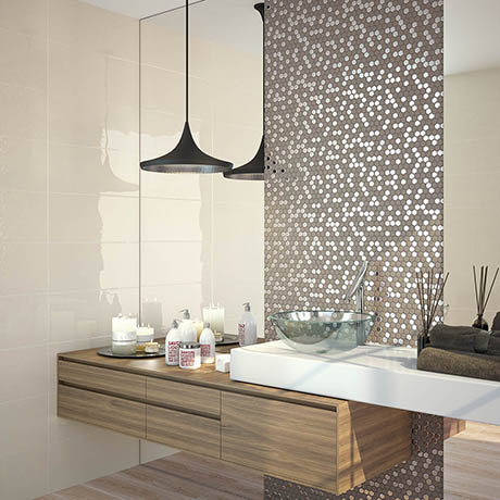 Hex Brown Mosaic Tile Sheet - 301 x 297mm