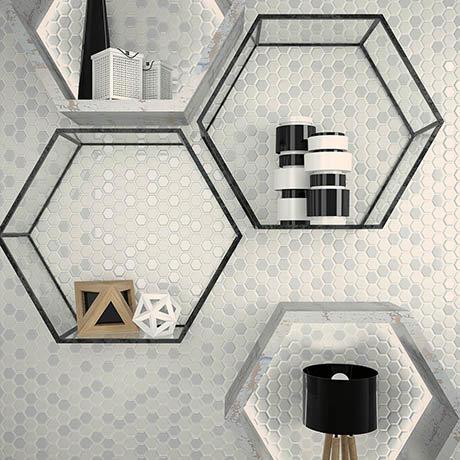 Hex White Mosaic Tile Sheet - 301 x 297mm
