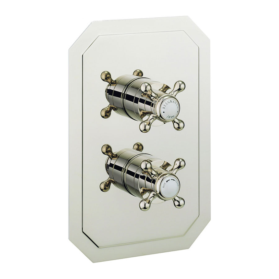 Crosswater - Belgravia Crosshead Thermostatic Shower Valve with 3 Way Diverter - Nickel profile large image view 1