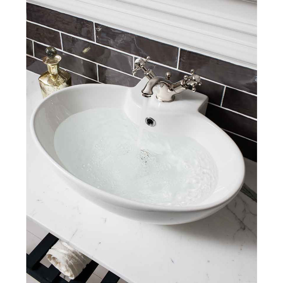 Crosswater - Belgravia Crosshead Monobloc Basin Mixer with Pop-up Waste - Nickel - HG110DPN profile large image view 3