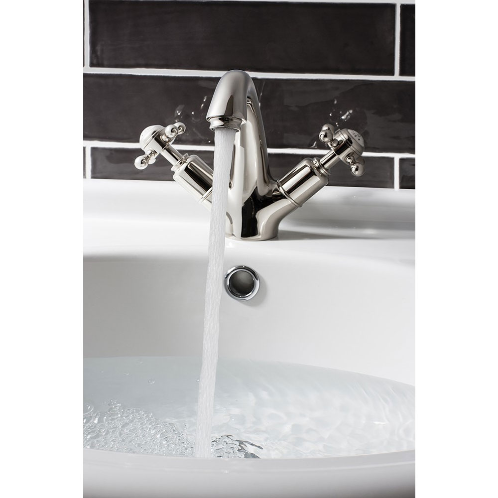 Crosswater - Belgravia Crosshead Highneck Monobloc Basin Mixer with Pop-up Waste - Nickel - HG112DPN profile large image view 3