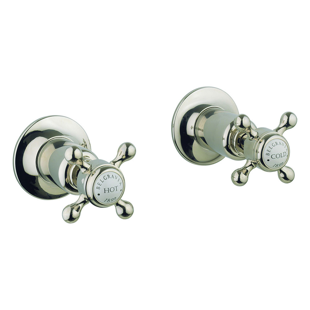 Crosswater - Belgravia Crosshead Wall Stop Taps - Nickel - HG350WN