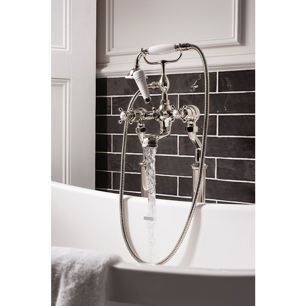 Crosswater - Belgravia Crosshead Floor Mounted Freestanding Bath Shower Mixer - Nickel Feature Large Image