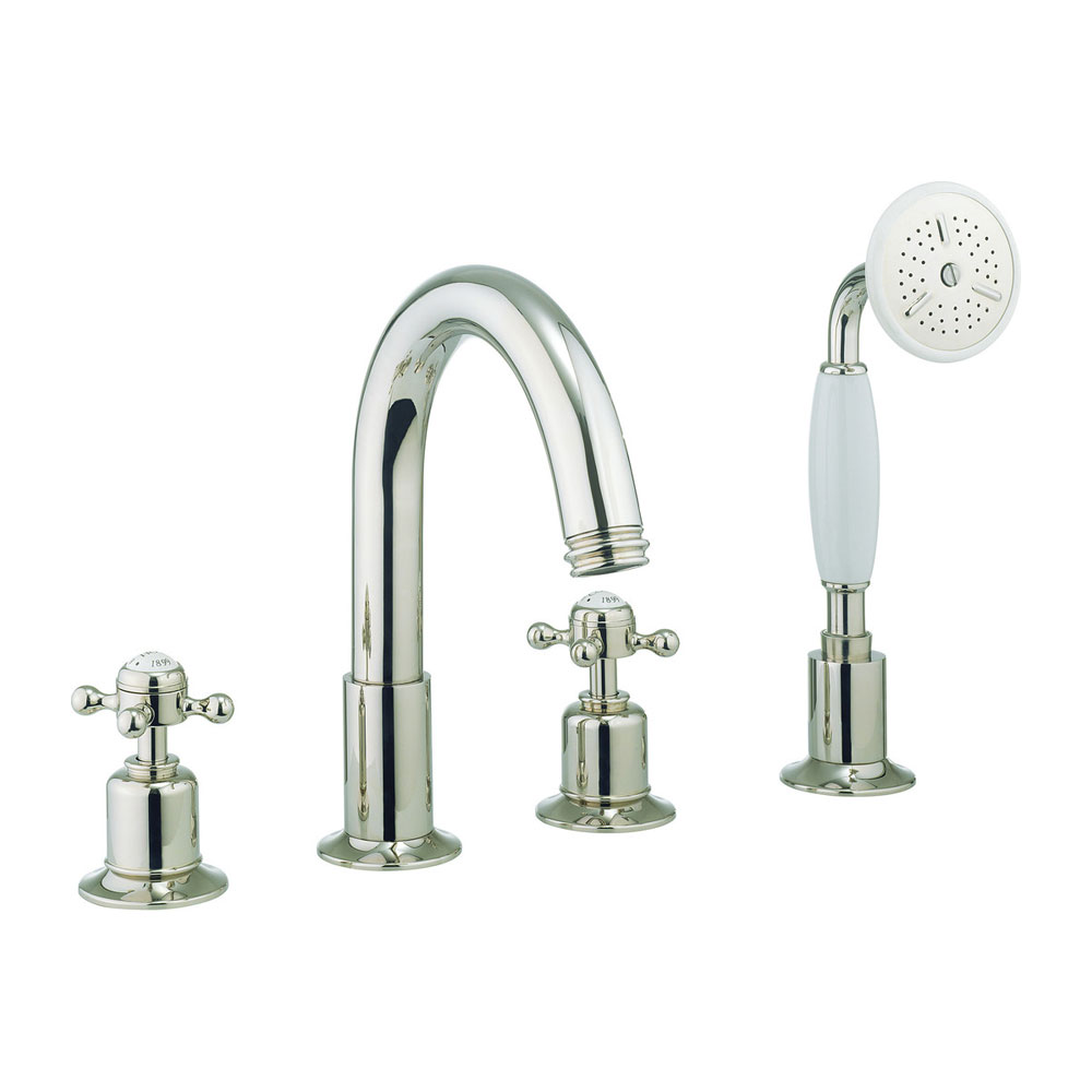Crosswater - Belgravia Crosshead 4 Tap Hole Bath Shower Mixer with Kit - Nickel - HG440DN Large Image