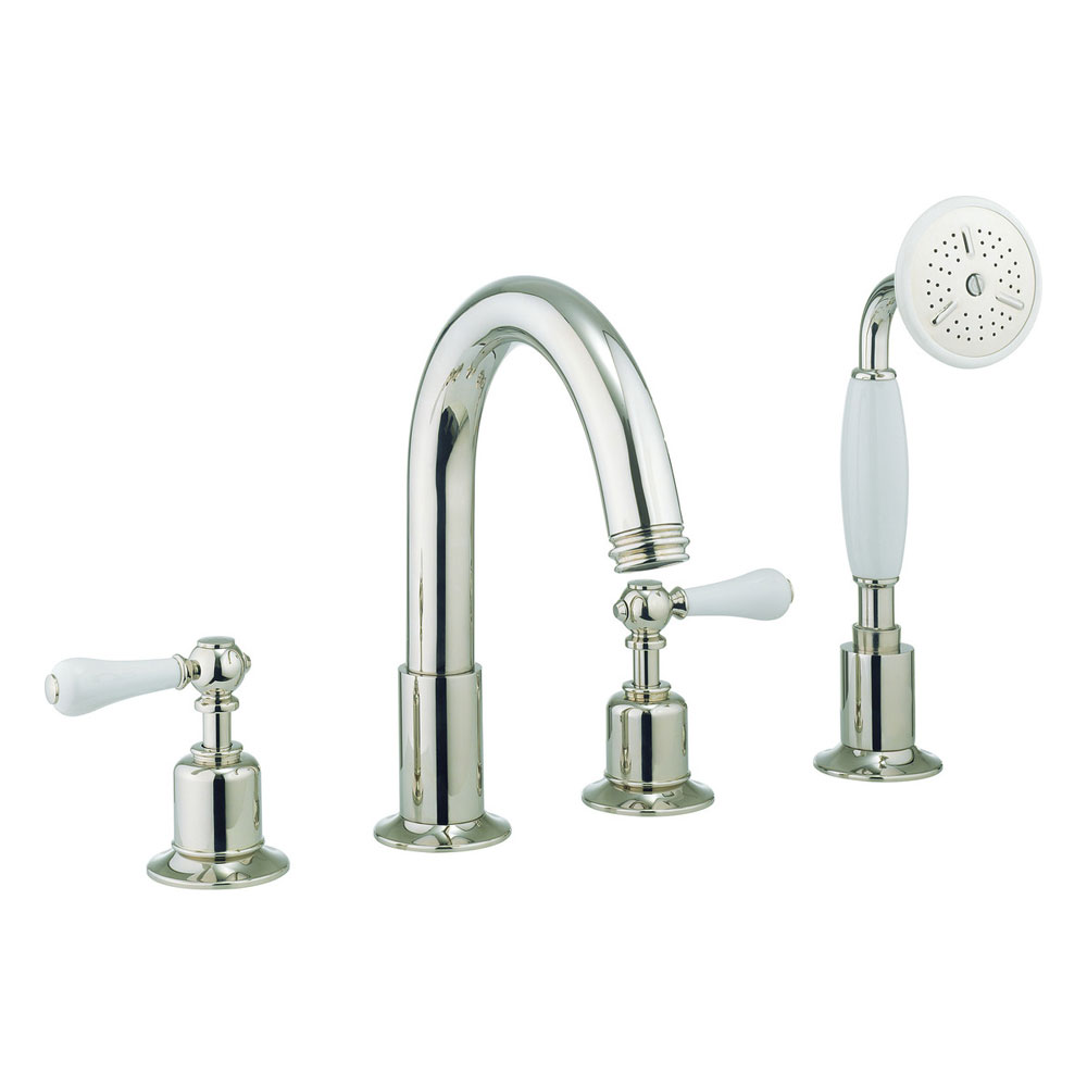Crosswater - Belgravia Lever 4 Tap Hole Bath Shower Mixer with Kit - Nickel - HG440DN_LV Large Image