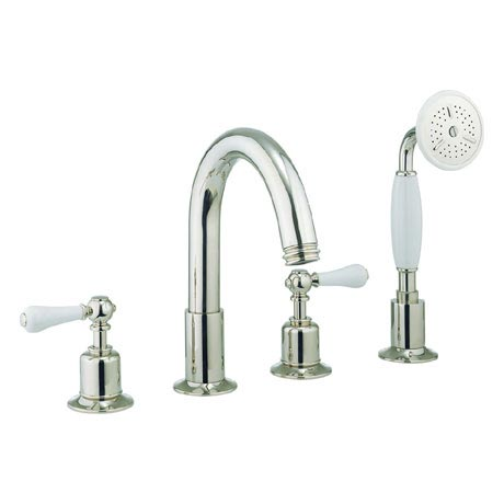 Crosswater - Belgravia Lever 4 Tap Hole Bath Shower Mixer with Kit - Nickel - HG440DN_LV