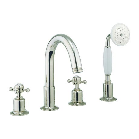 Crosswater - Belgravia Crosshead 4 Tap Hole Bath Shower Mixer with Kit - Nickel - HG440DN