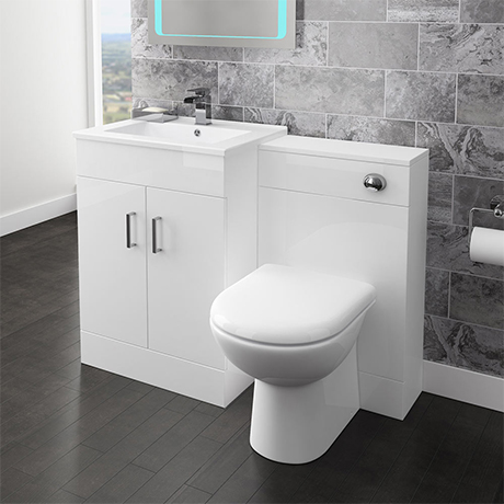 Modern 1100 Gloss White Vanity Unit Bathroom Suite with D-Shaped BTW Pan