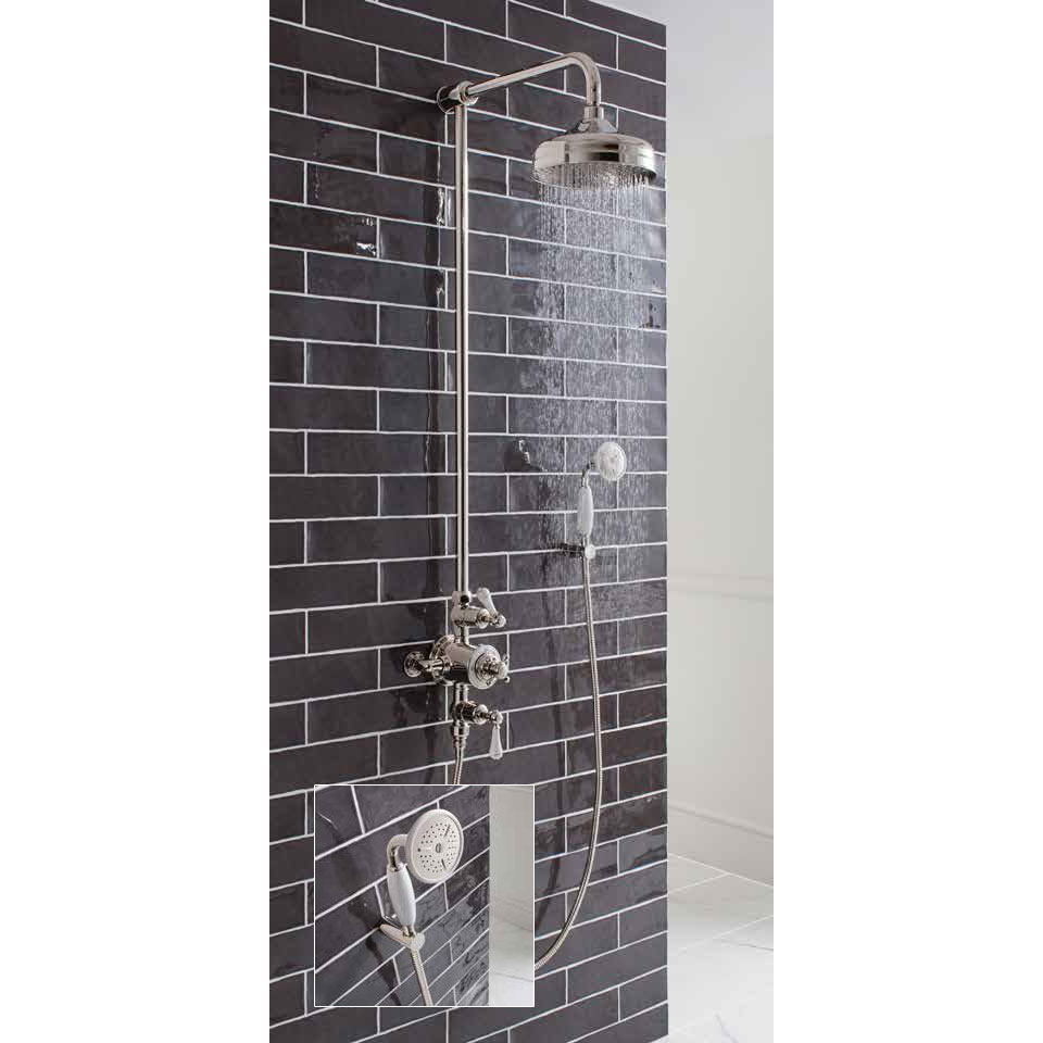 Crosswater - Belgravia Thermostatic Shower Valve with Fixed Head & Handset - Nickel profile large image view 3