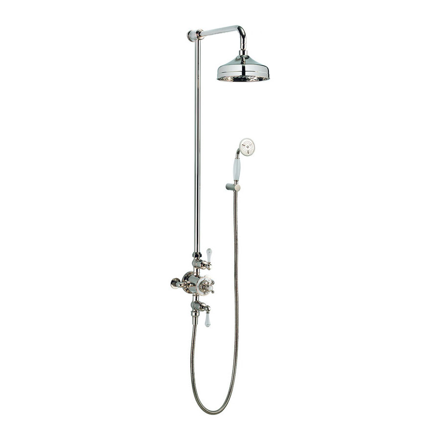 Crosswater - Belgravia Thermostatic Shower Valve with Fixed Head & Handset - Nickel profile large image view 1