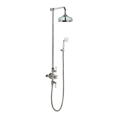 Crosswater - Belgravia Thermostatic Shower Valve with Fixed Head & Handset - Nickel