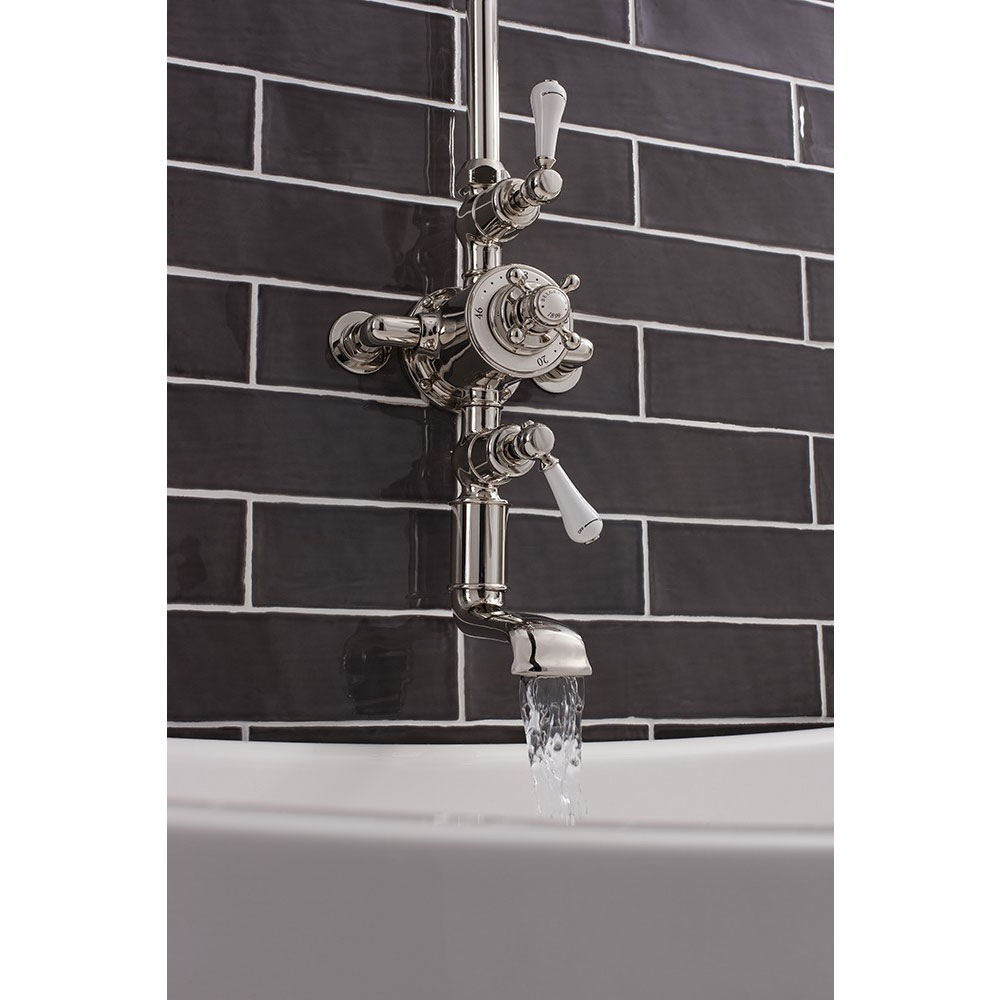 Crosswater - Belgravia Thermostatic Shower Valve with Fixed Head & Bath Spout - Nickel Feature Large Image