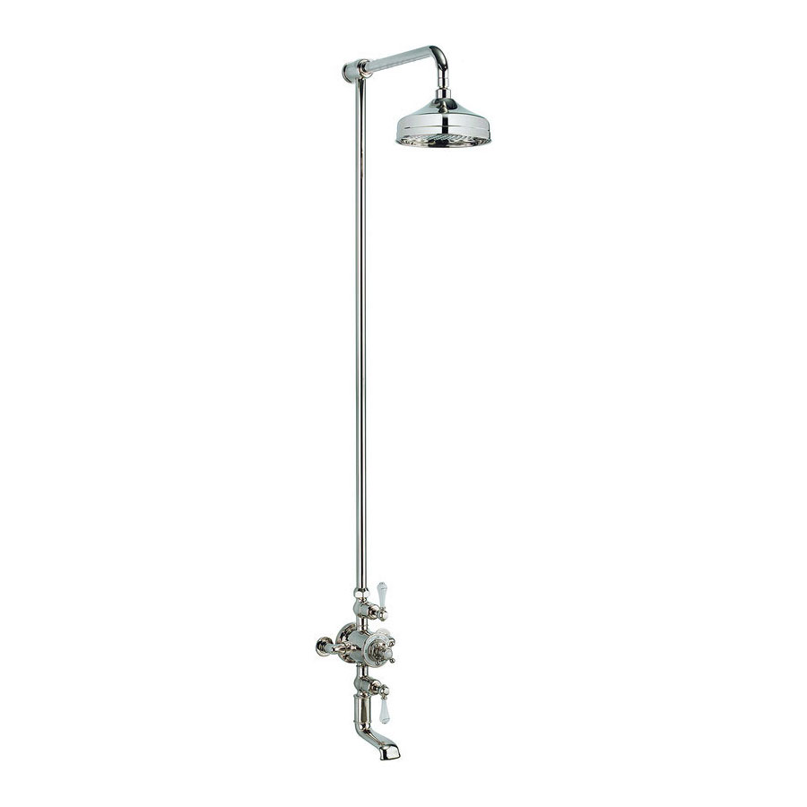 Crosswater - Belgravia Thermostatic Shower Valve with Fixed Head & Bath Spout - Nickel Large Image
