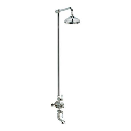 Crosswater - Belgravia Thermostatic Shower Valve with Fixed Head & Bath Spout - Nickel
