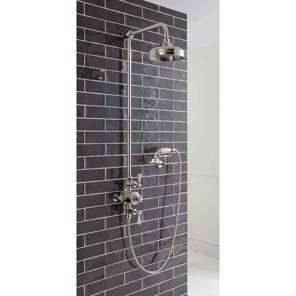 Crosswater - Belgravia Thermostatic Shower Valve with Fixed Head, Handset & Wall Cradle - Nickel Feature Large Image