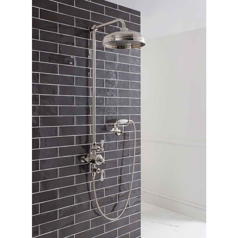 Crosswater - Belgravia Thermostatic Shower Valve with Fixed Head, Handset & Wall Cradle - Nickel Standard Large Image