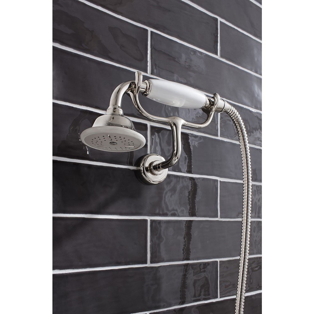 Crosswater - Belgravia Thermostatic Shower Valve with Fixed Head, Handset & Wall Cradle - Nickel In Bathroom Large Image