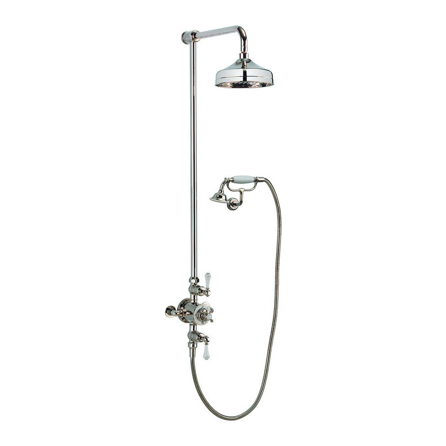 Crosswater - Belgravia Thermostatic Shower Valve with Fixed Head, Handset & Wall Cradle - Nickel Large Image