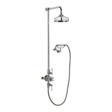 Crosswater - Belgravia Thermostatic Shower Valve with Fixed Head, Handset & Wall Cradle - Nickel