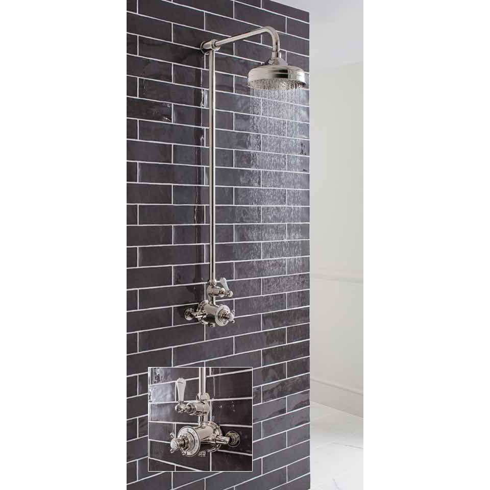 Crosswater - Belgravia Thermostatic Shower Valve with Fixed Head - Nickel profile large image view 4