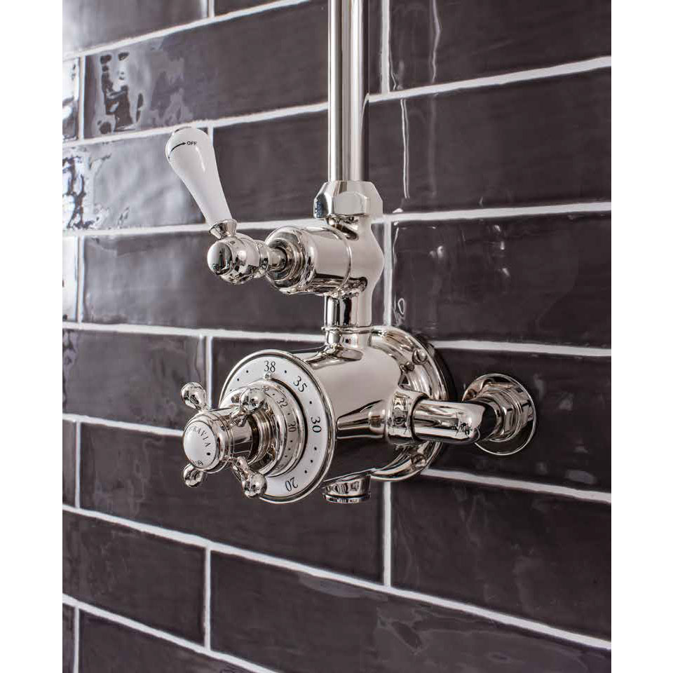 Crosswater - Belgravia Thermostatic Shower Valve with Fixed Head - Nickel profile large image view 3