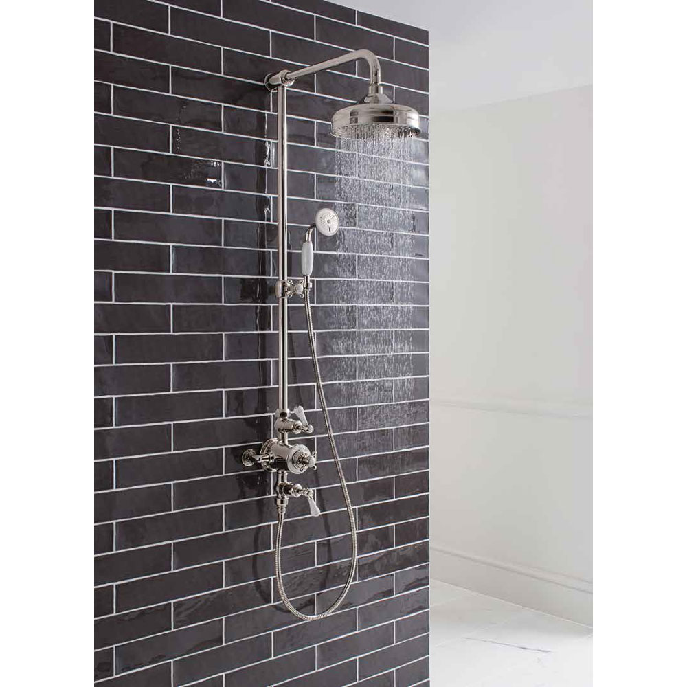 Crosswater - Belgravia Thermostatic Shower Valve with Fixed Head, Slider Rail & Handset - Nickel profile large image view 3