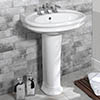 Silverdale Hillingdon 650mm Wide Basin with Full Pedestal profile small image view 1