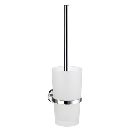 Smedbo Home Wall Mounted Toilet Brush & Frosted Glass Container - Polished Chrome - HK333