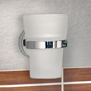 Smedbo Home Holder with Frosted Glass Tumbler - Polished Chrome - HK343 profile large image view 2