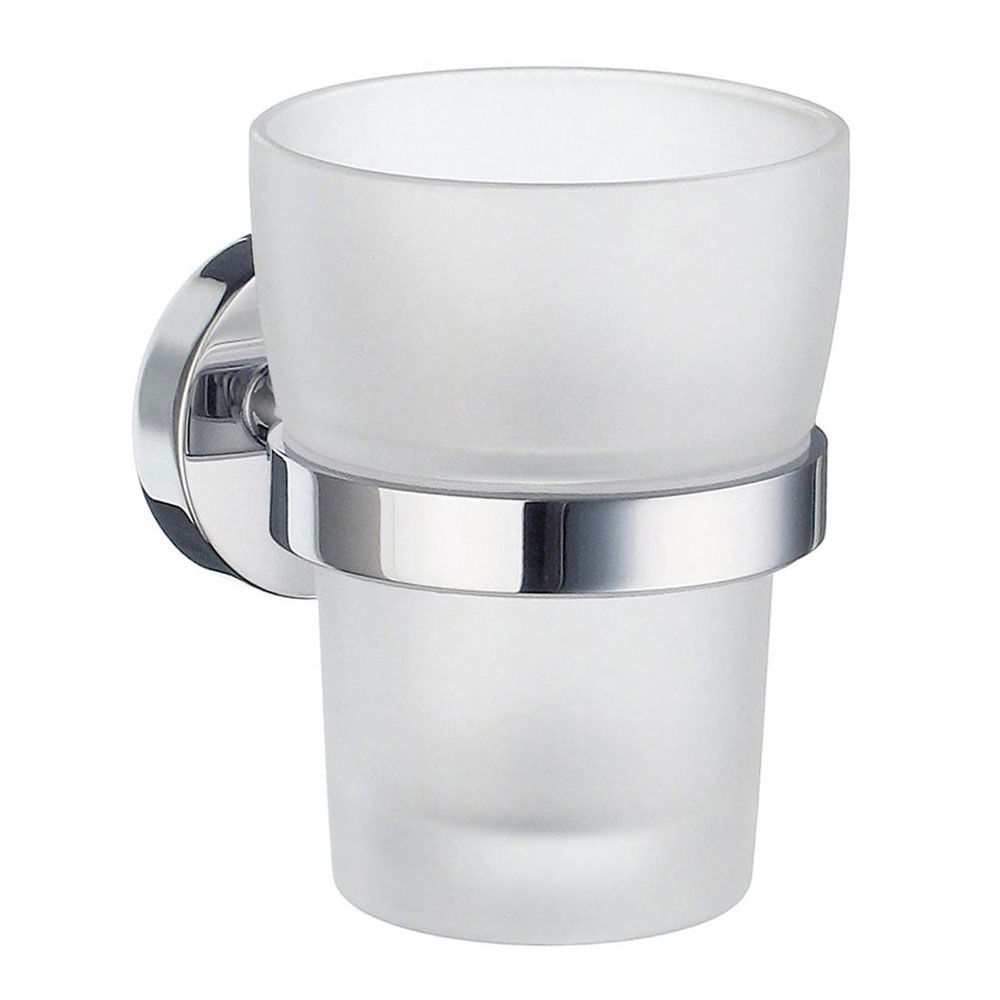 Smedbo Home Holder with Frosted Glass Tumbler - Polished Chrome - HK343 Large Image