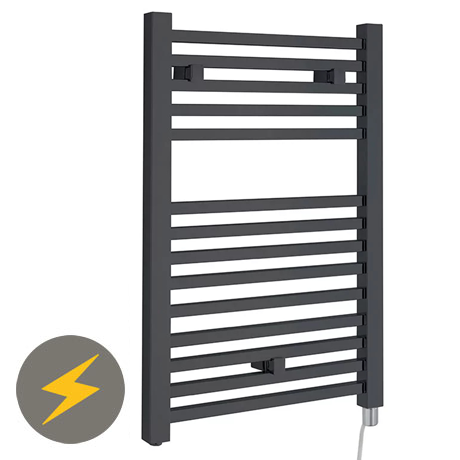 Hudson Reed 690 x 500mm Electric Only Square Heated Towel Rail - Anthracite - HL152