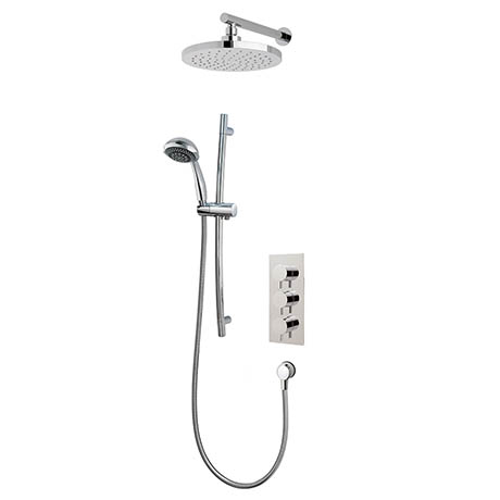 MX Atmos Round 2 Way Thermostatic Concentric Mixer Valve with Riser Rail & Overhead - HL4