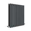 Hudson Reed Revive 600 x 586mm Horizontal Double Panel Radiator - Anthracite - HLA38D profile small image view 1