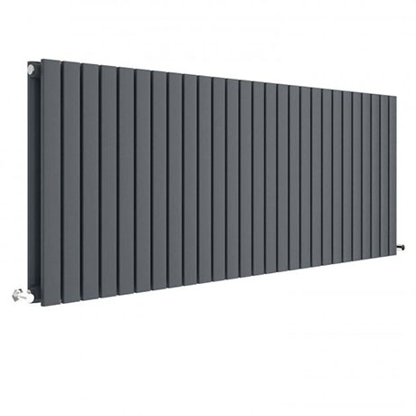 Hudson Reed Sloane 600 x 1572mm Horizontal Double Panel Radiator - Anthracite - HLA60D