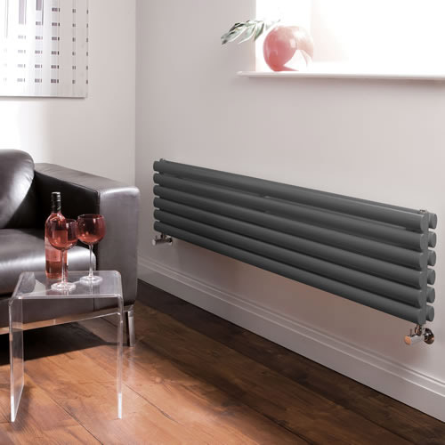 Hudson Reed Revive Horizontal Double Panel Radiator 1500 x 354mm - Anthracite Profile Large Image