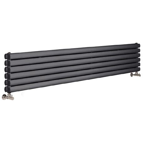 Hudson Reed Revive Horizontal Double Panel Radiator 1800 x 354mm - Anthracite