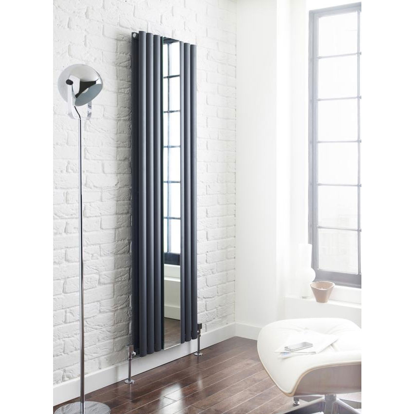 Hudson Reed Revive Double Panel Designer Radiator with Mirror - Anthracite - HLA79 profile large image view 2
