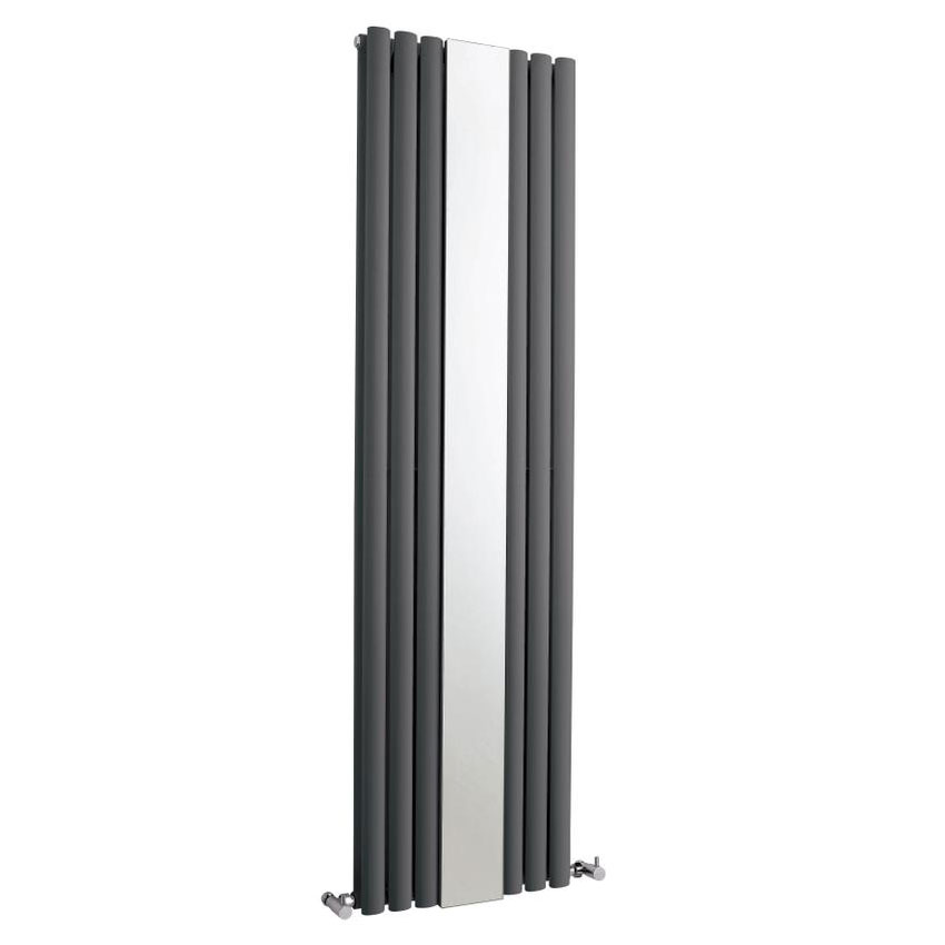 Hudson Reed Revive Double Panel Designer Radiator with Mirror - Anthracite - HLA79 profile large image view 1