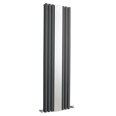 Hudson Reed Revive Double Panel Designer Radiator with Mirror - Anthracite - HLA79