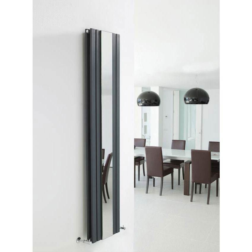 Hudson Reed Sloane Double Panel Radiator with Mirror 1800 x 381mm - Anthracite Profile Large Image