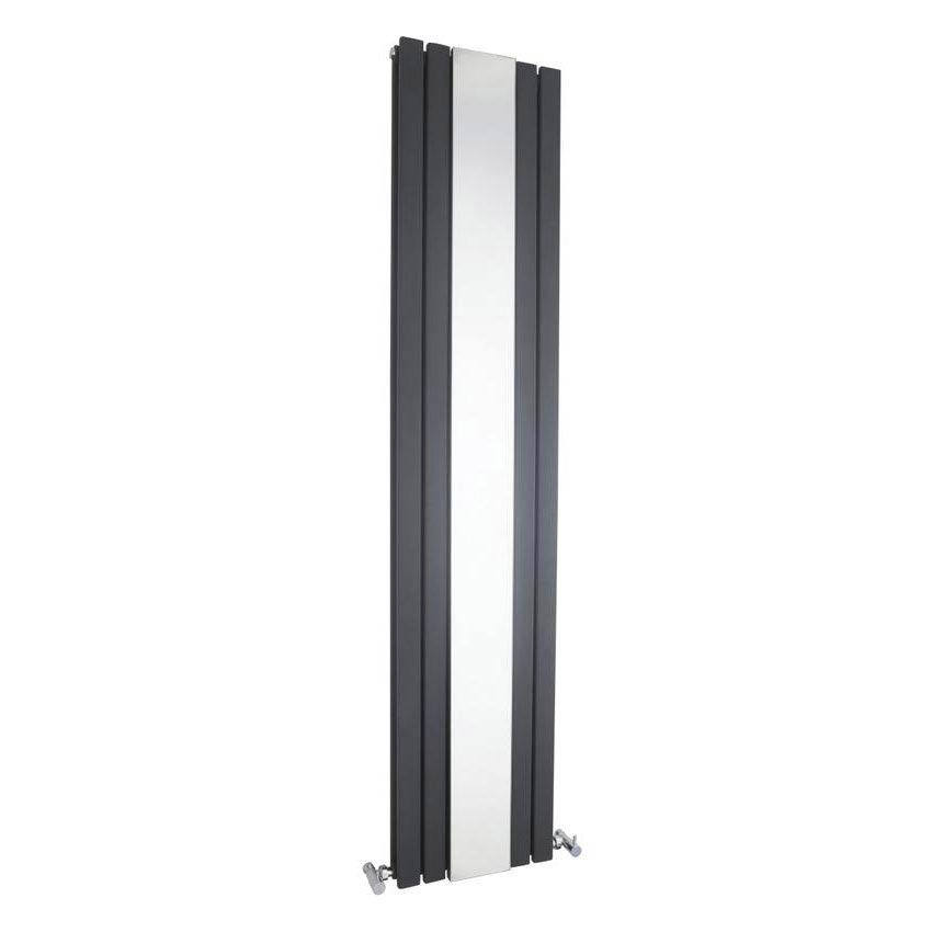 Hudson Reed Sloane Double Panel Radiator with Mirror 1800 x 381mm - Anthracite Large Image