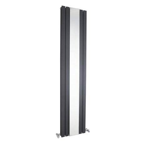 Hudson Reed Sloane Double Panel Radiator with Mirror 1800 x 381mm - Anthracite