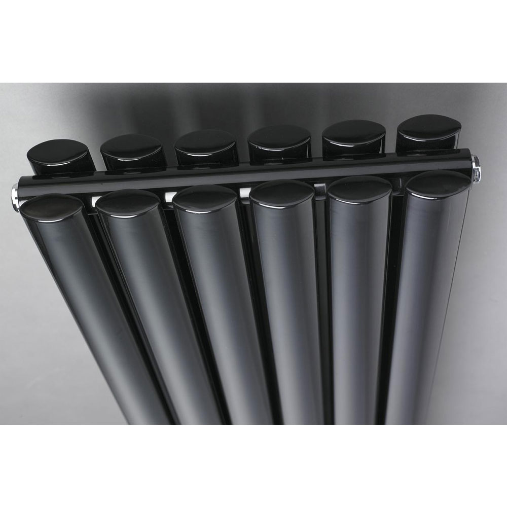 Hudson Reed Revive Double Panel Designer Radiator 1500 x 354mm - High Gloss Black profile large image view 2