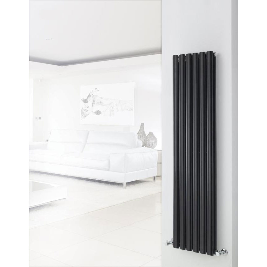 Hudson Reed Revive Double Panel Designer Radiator 1500 x 354mm - High Gloss Black profile large image view 3