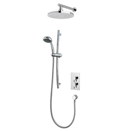 MX Atmos Select Round 3 Way Thermostatic Concentric Mixer Valve with Riser Rail & Overhead - HLI